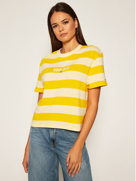 Tommy Jeans Tommy Jeans T-shirt Stripe Logo DW0DW08665 Giallo Cropped Fit