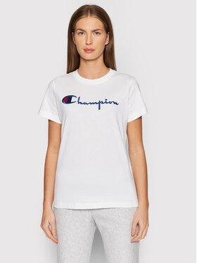 Champion Champion T-Shirt Big Logo Crew Neck 114128 Biały Regular Fit