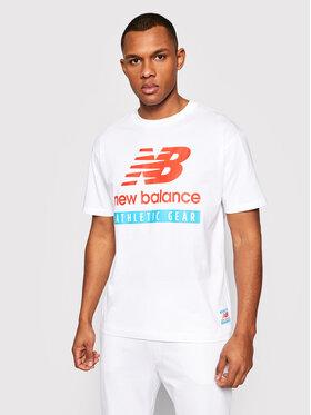 New Balance New Balance Marškinėliai Essentials Logo Tee MT11517 Balta Relaxed Fit