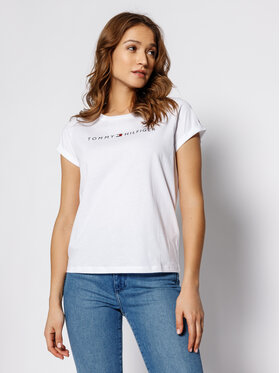 TOMMY HILFIGER TOMMY HILFIGER T-Shirt Logo UW0UW01618 Biały Regular Fit