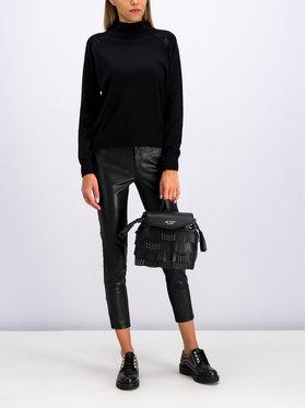 My Twin Kožené nohavice 192MP2020 Čierna Slim Fit