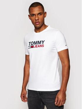 Tommy Jeans Tommy Jeans Tričko Tjm Skinny Corp Tee DM0DM10626 Biela Skinny Fit