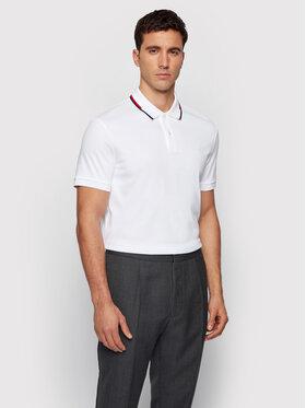 Boss Boss Тениска с яка и копчета Parlay 104 50448657 Бял Regular Fit