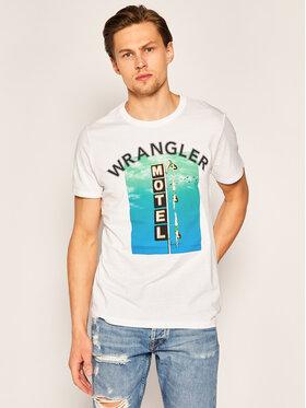 Wrangler Wrangler Tricou Good Times W7F8FK989 Alb Regular Fit