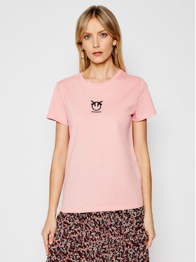 Pinko Pinko T-Shirt Bussolano PE 21 BLK01 1G1619 Y651 Růžová Slim Fit
