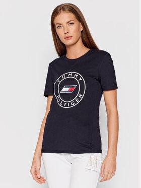 Tommy Hilfiger Tommy Hilfiger T-Shirt Round Graphic S10S101046 Granatowy Slim Fit