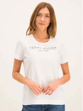 Tommy Hilfiger Tommy Hilfiger T-Shirt Christa WW0WW25603 Biały Regular Fit