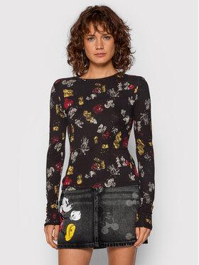 Desigual Desigual Блуза DISNEY Mickey Lovers 21WWTKDT Черен Slim Fit