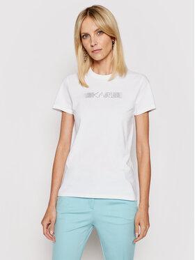 KARL LAGERFELD KARL LAGERFELD T-shirt Rhinestone Logo 211W1706 Bijela Regular Fit