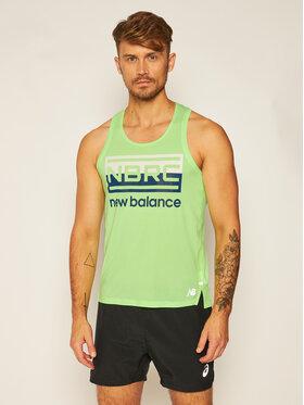 New Balance New Balance Тениска от техническо трико Printed Impact Run MT01233 Зелен Athletic Fit