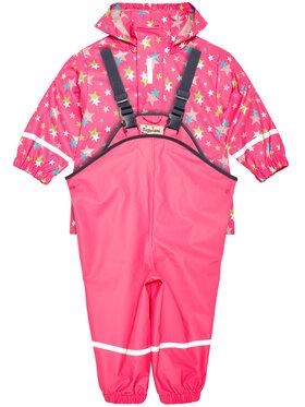 Playshoes Playshoes Komplet kurtka przeciwdeszczowa i spodnie 408692 Różowy Regular Fit