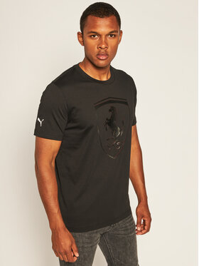 Puma Puma T-Shirt Ferrari Race Big Shield Tee 598545 Czarny Regular Fit