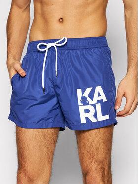 KARL LAGERFELD KARL LAGERFELD Szorty kąpielowe Classic KL21MBS02 Granatowy Regular Fit
