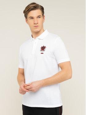 Hugo Hugo Тениска с яка и копчета Disar 50421620 Бял Regular Fit
