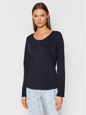Tommy Hilfiger Tommy Hilfiger Pižamos marškinėliai Tee Henley UW0UW03285 Tamsiai mėlyna Regular Fit