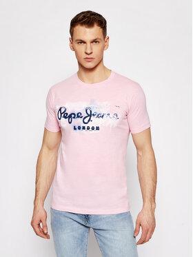 Pepe Jeans Pepe Jeans Póló Golders PM503213 Rózsaszín Slim Fit