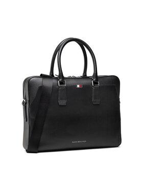 Tommy Hilfiger Tommy Hilfiger Geantă pentru laptop Business Leather Slim Comp Bag AM0AM07551 Negru