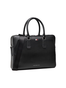 Tommy Hilfiger Tommy Hilfiger Laptoptasche Business Leather Slim Comp Bag AM0AM07551 Schwarz