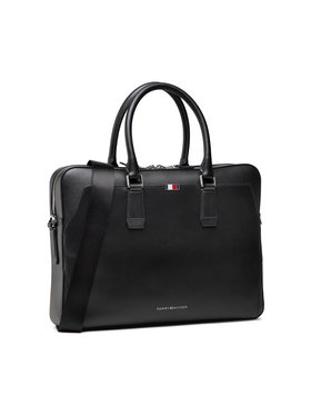 Tommy Hilfiger Tommy Hilfiger Laptoptáska Business Leather Slim Comp Bag AM0AM07551 Fekete