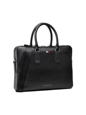 Tommy Hilfiger Tommy Hilfiger Taška na laptop Business Leather Slim Comp Bag AM0AM07551 Čierna