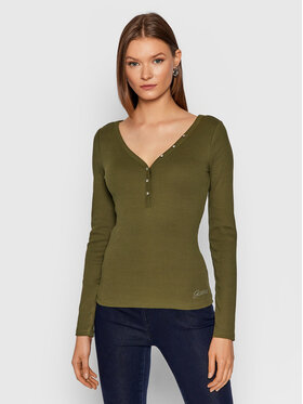 Guess Guess Bluzka Henley W0BP1S R9I51 Zielony Slim Fit
