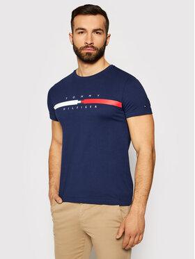Tommy Hilfiger Tommy Hilfiger Tričko Global Stripe Chest Tee MW0MW16572 Tmavomodrá Regular Fit