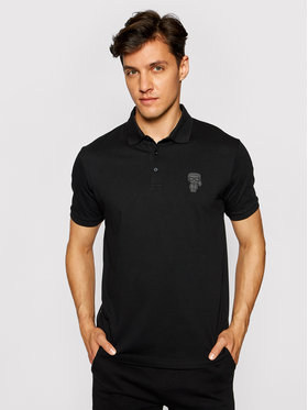 KARL LAGERFELD KARL LAGERFELD Тениска с яка и копчета 745024 511223 Черен Regular Fit