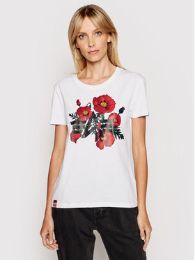 Alpha Industries Alpha Industries T-Shirt Flower Logo 126063 Biały Regular Fit