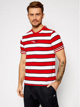 Tommy Jeans Tommy Jeans T-Shirt Tjm Small Text Stripe DM0DM09403 Rot Regular Fit
