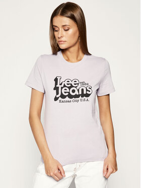 Lee Lee T-Shirt Logo Tee L44CEPOA Fioletowy Slim Fit