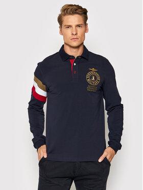 Aeronautica Militare Aeronautica Militare Тениска с яка и копчета 212PO1585J469 Тъмносин Slim Fit