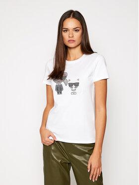 KARL LAGERFELD KARL LAGERFELD T-Shirt Ikonik Rhinestone 205W1708 Biały Regular Fit
