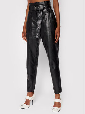 IRO IRO Spodnie skórzane Kani AP008 Czarny Regular Fit