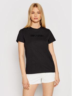 KARL LAGERFELD KARL LAGERFELD Marškinėliai Rhinestone Logo 211W1706 Juoda Regular Fit