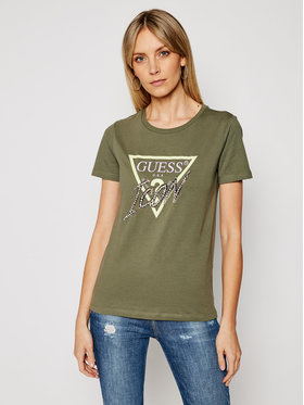 Guess Guess T-Shirt Icon Tee W1RI25 I3Z00 Zielony Regular Fit