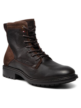 Tommy Hilfiger Tommy Hilfiger Csizma Creative Leather Mix Zip Boot FM0FM03926GT6 Barna