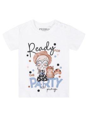 Primigi Primigi T-Shirt Party Chic 45221505 Biały Regular Fit