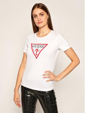 Guess Guess T-Shirt Triangle Logo W0YI57 K8HM0 Biały Regular Fit