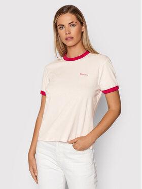 Wrangler Wrangler T-Shirt Ringer W7S0DRP38 Růžová Regular Fit