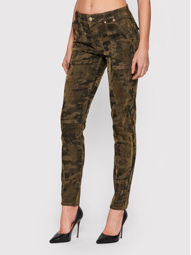Guess Guess Текстилни панталони New Sexy Cargo W1BB12 WE631 Зелен Skinny Fit