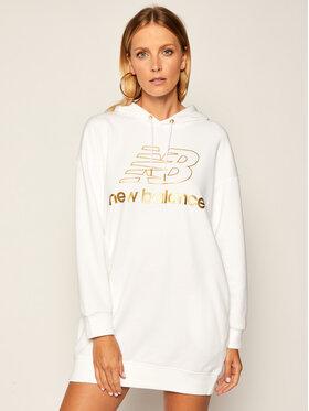 New Balance Úpletové šaty Athletics Village Hoodie WD03501 Biela Regular Fit