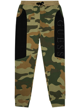 Guess Guess Spodnie dresowe H1YJ05 KAD70 Zielony Regular Fit