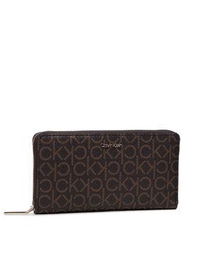 Calvin Klein Calvin Klein Μεγάλο Πορτοφόλι Γυναικείο Ck Must Z/A Wallet Xl Mono K60K608627 Καφέ