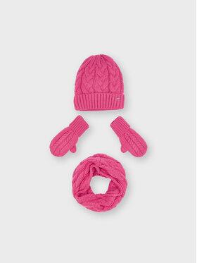 Mayoral Mayoral Ensemble bonnet, écharpe tube et gants 10156 Rose