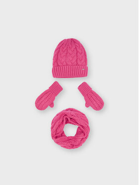 Mayoral Mayoral Комплект шапка, шал тип комин и ръкавици 10156 Розов