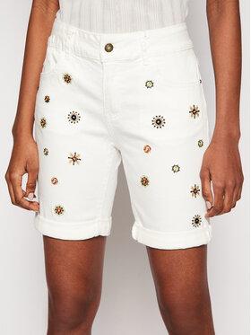 Desigual Desigual Pantaloni scurți de blugi Grecia 21SWDD18 Alb Slim Fit