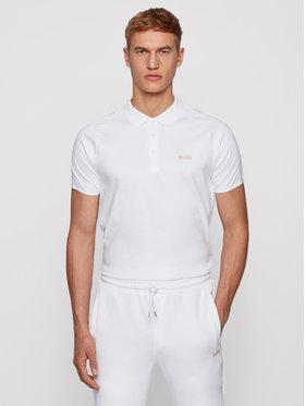 Boss Boss Тениска с яка и копчета Paul Gold 50448654 Бял Slim Fit