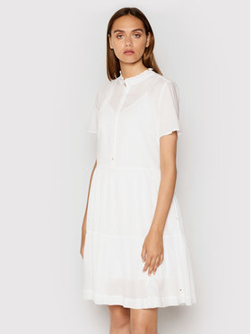 Tommy Hilfiger Tommy Hilfiger Sukienka letnia F&F WW0WW31313 Biały Slim Fit