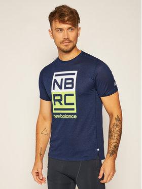 New Balance New Balance Тениска от техническо трико Printed Impact Run MT01235 Тъмносин Athletic Fit