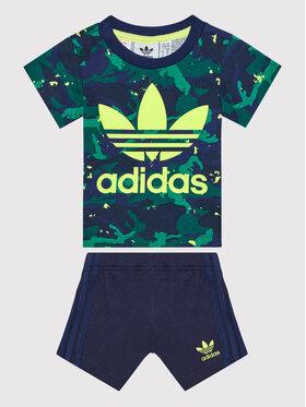 adidas adidas Komplet t-shirt i szorty sportowe Camo H20308 Granatowy Regular Fit